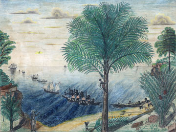 African canoes and European sailing vessels