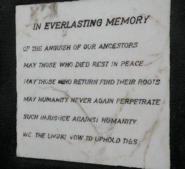 Plaque near the entrance to the courtyard of Elmina Castle