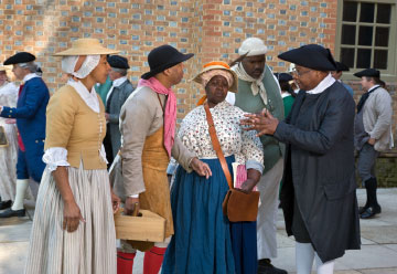 A group of African American interpreters at Colonial Williamsburg portray free black and enslaved people as they wrestle with some of the complexities and contradictions of the American founding story.