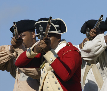 Colonial Williamsburg actor-interpreters portraying the Royal Ethiopian Regiment