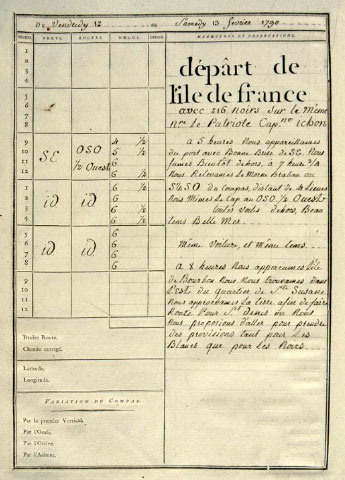 Logbook of the Bordeaux slaver <i>Le Patriote</i>