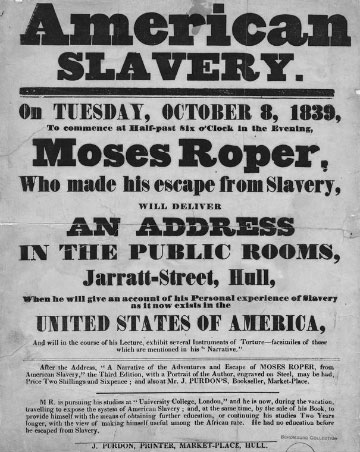 Flyer advertising a speech by runaway Moses Roper