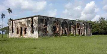 Rear view of main house ruins