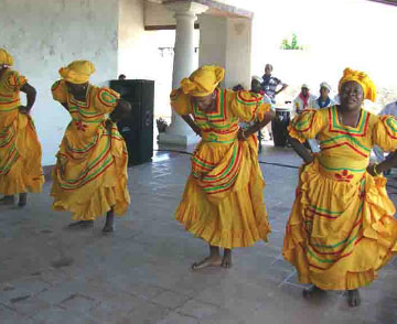 Women in Afrocuban group dance for the Orisha Oshun, San Severino Castle