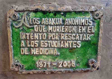 Plaque commemorating the five young abakuá who were killed in 1871, Havana, Cuba