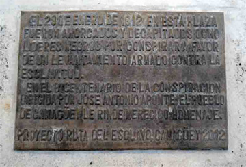 Plaque commemorating the bicentennial of Jose Antonio Aponte's conspiracy