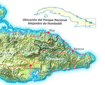Map of Alejandro de Humboldt National Park, Cuba