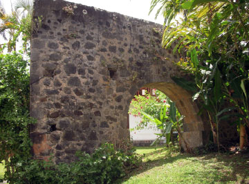 Stone archway, among the ruins of Vanibel Plantation, Guadeloupe