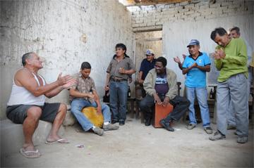 A gathering of musicians and community members, Zaña, Peru