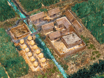 Model of slave quarters at a sugar cane plantation