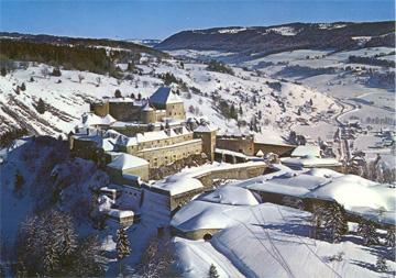 Aerial view of Fort de Joux in the winter
