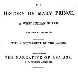 Title page of  <i>The History of Mary Prince, a West Indian Slave, Related by Herself</i>