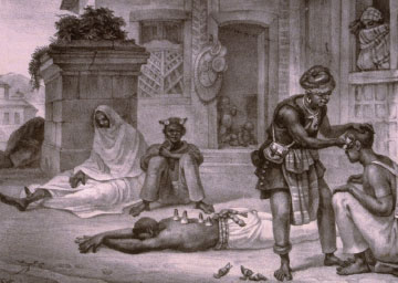 Engraving depicting Brazil's urban black medical practitioners