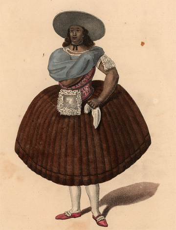 Clothing style of a female servant, Lima